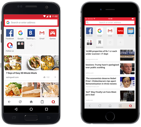 Opera Mini Browser's Android and iPhone App